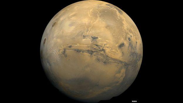 Valles Marineris, el nombre con el que se conoce al Gran Cañón de Marte, hecho con un mosaico de imágenes capturadas por la sonda Viking.