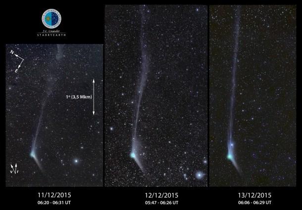 Evolución de la cola del cometa Catalina, según las observaciones realizadas desde el Instituto de Astrofísica de Canarias. Fuente: J.C. Casado, IAC