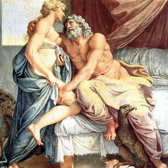 Juno y Júpiter, según un cuadro del pintor barroco italiano Annibale Carracci (1560-1609), conservado en la galería Farnese, en Roma. PINTURA DE ANNIBALE CARRACCI
